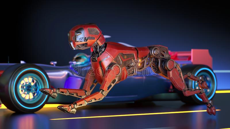 Red robot dog is racing with sport car vector illustration