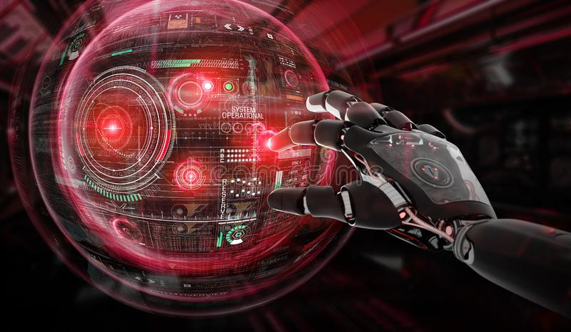 Red robot hacking a globe system interface 3D rendering. Red robot hacking a globe system interface on dark background 3D rendering royalty free illustration