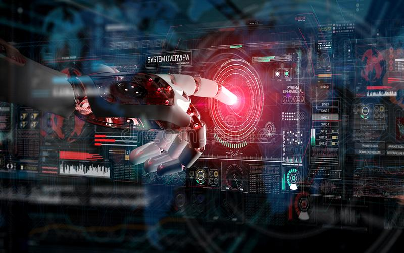 Red robot hacking a system with digital screens 3D rendering royalty free illustration