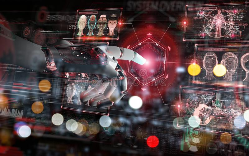Red robot hacking a system with digital screens 3D rendering stock illustration