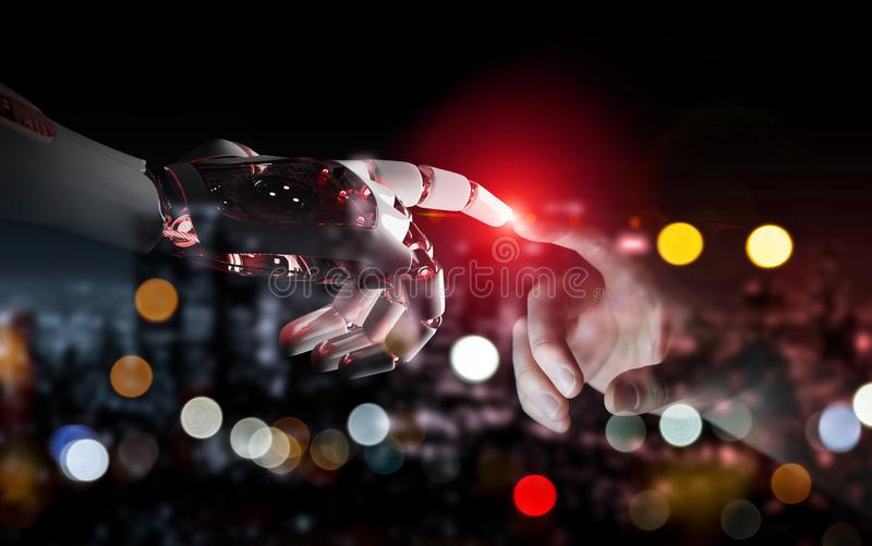 Red robot hand making contact with human hand 3D rendering vector illustration