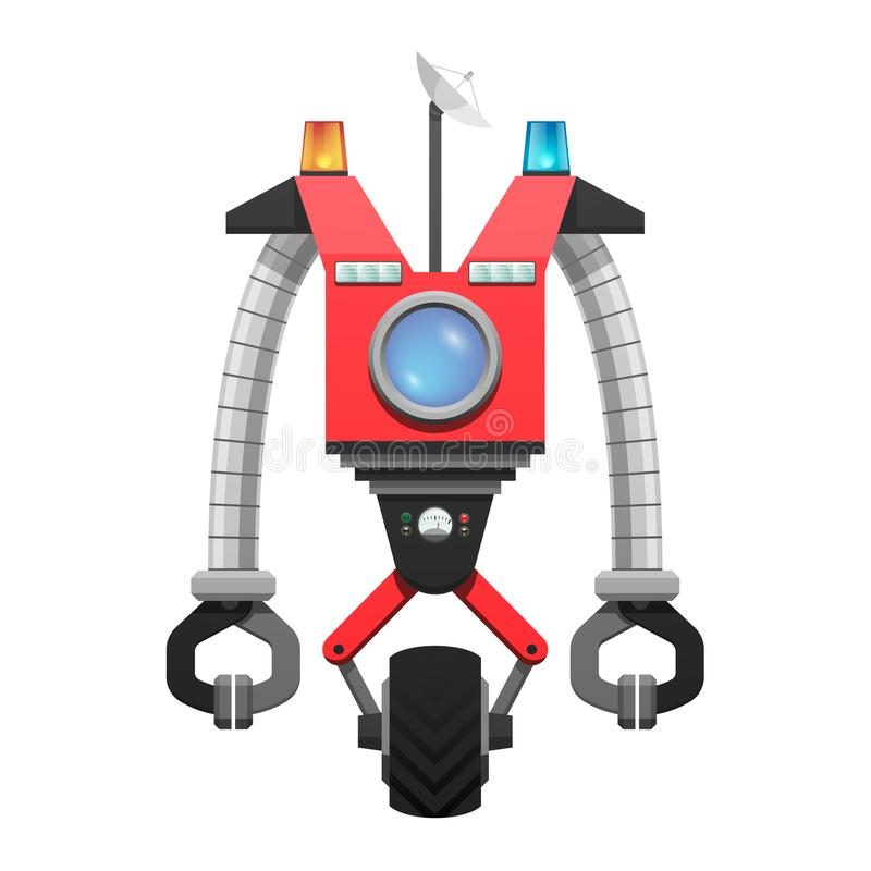 Red Robot with Satellite and Screen Illustration royalty free illustration