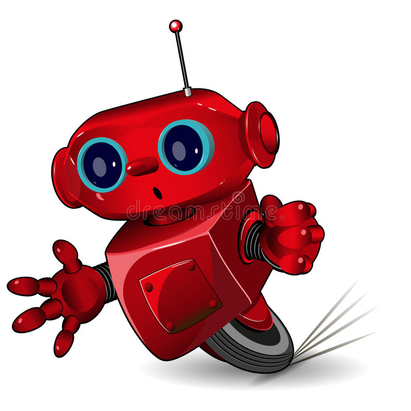 Red robot speed in a bend vector illustration