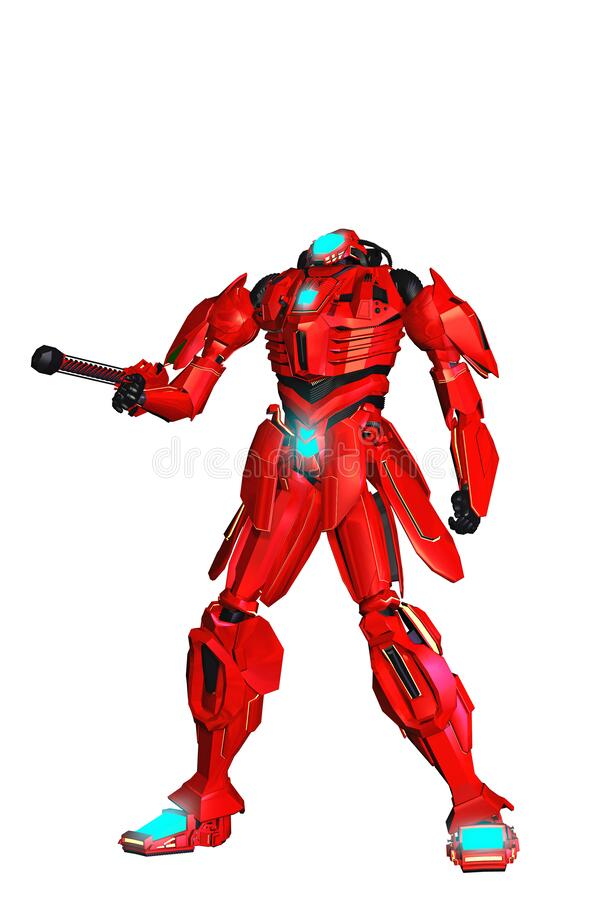 Free Red Robotic Warrior, Soldier Armed With Gun, 3d Illustration, White Background, Blue Lights, Royalty Free Stock Photo - 196398945
