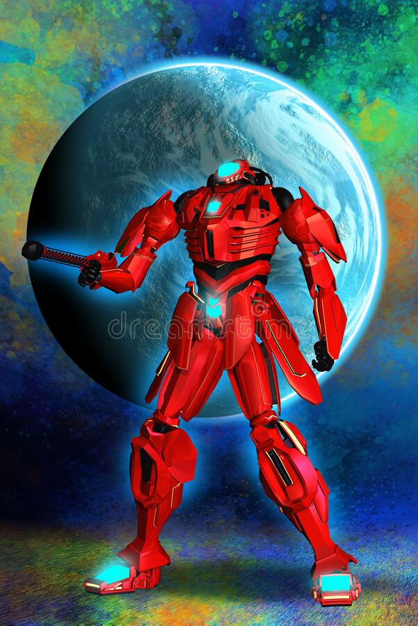 Free Red Robotic Warrior, Soldier Armed With Gun In Space, 3d Illustration, Blue Lights, Stock Photo - 196398950