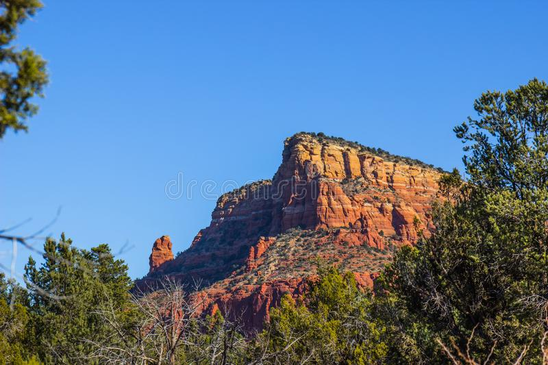 Red Rock Butte In Arizona High Desert. Red Rock Butte With Many Geological Layers In Arizona High Desert royalty free stock image