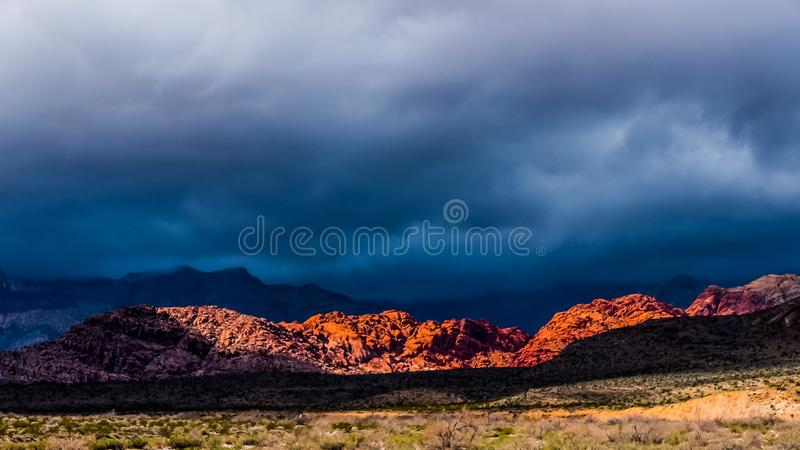 Red Rock Canyon on a cloudy day stock photography