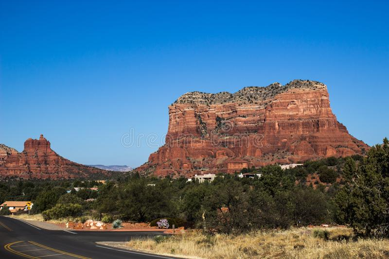 Red Rock Mountain Butte With Layers royalty free stock images