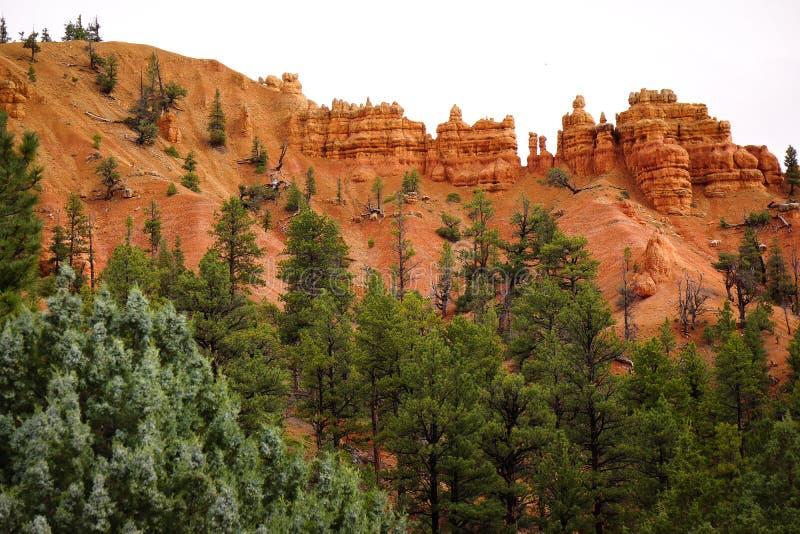 Red Rock Pillars Utah USA. Day cloud Red Rock Pillars Utah USA royalty free stock photography