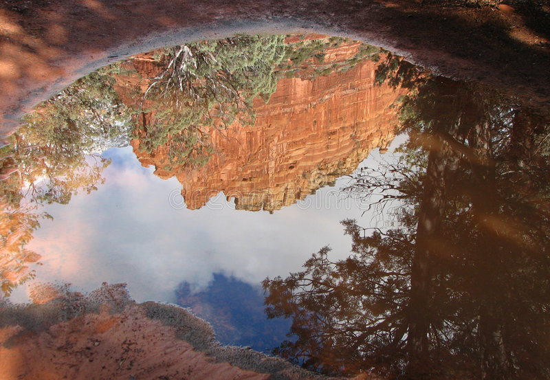 Download Red rock reflections stock image. Image of southwest, water - 3982795