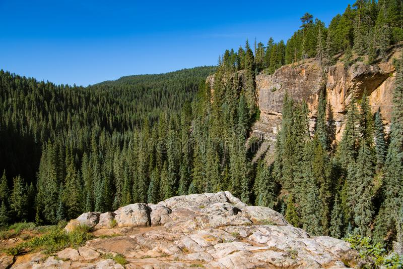 Red rock sandstone canyon wall and rock outcropping above. Canyon cuts through a landscape of forested mountain peaks above the Piedra River near Pagosa Springs royalty free stock image