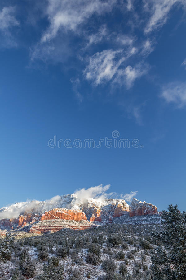 Red Rock Secret Mountain Wilderness following a snowy night, Sedona. royalty free stock images