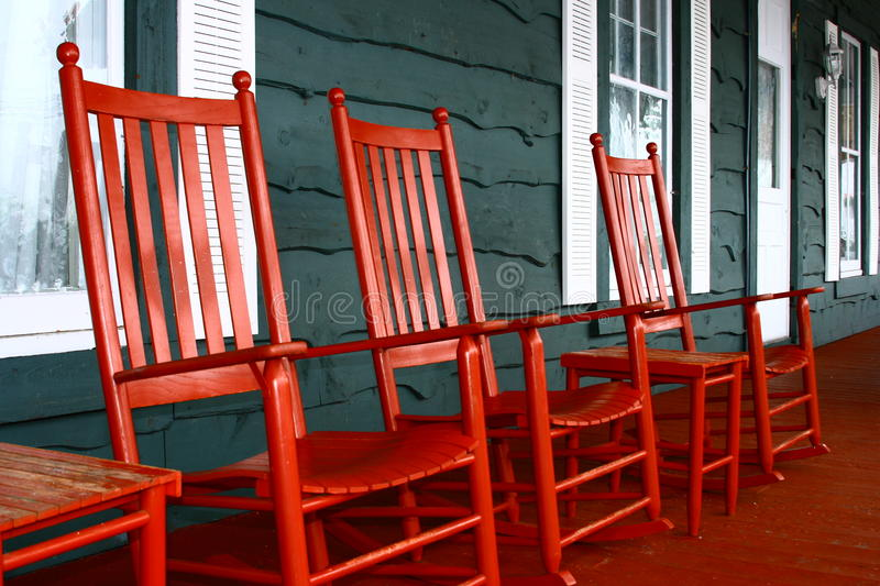 Download Red Rockers on a Porch stock photo. Image of adirondacks - 9964574