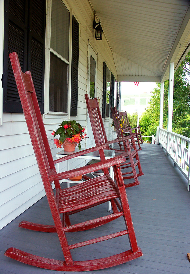 Red Rocking Chairs royalty free stock image