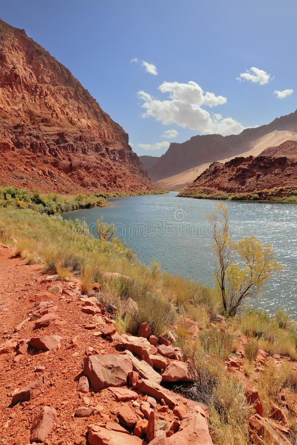 Red Rocks And Blue River Royalty Free Stock Images