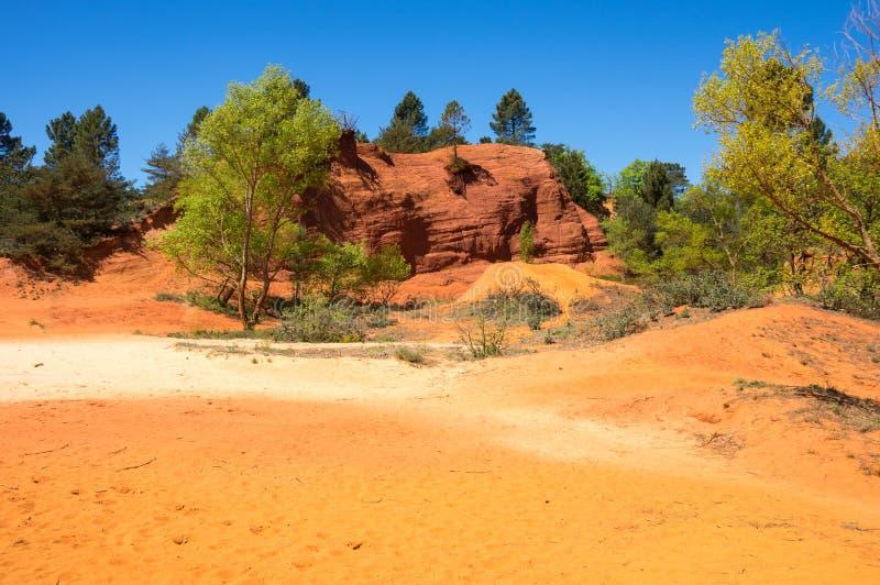 Colorado provencal in Rustrel. Red rocks of Colorado provencal in Rustrel, France royalty free stock photo