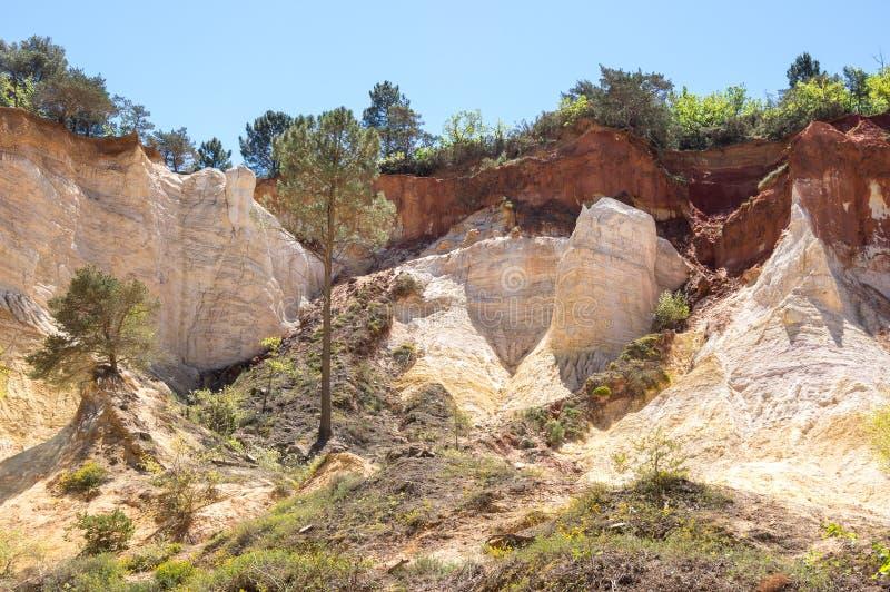 Colorado provencal in Rustrel. Red rocks of Colorado provencal in Rustrel, France royalty free stock image
