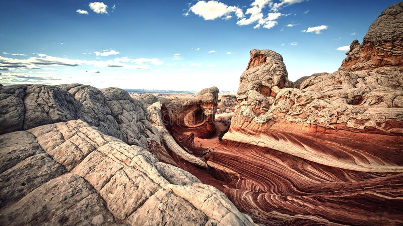 Red rocks in desert - panoramic view- sky scenics - nature 2018.  stock images