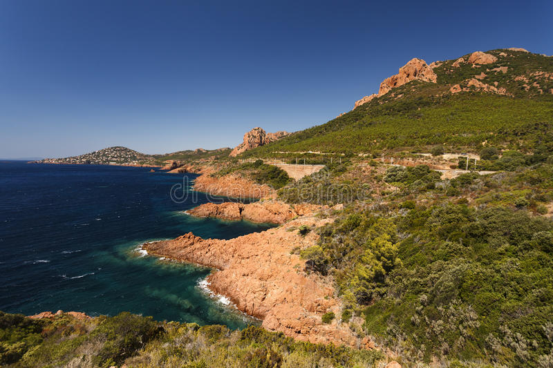 Red Rocks of Esterel Massif and Plants. French Riviera, Provence stock image