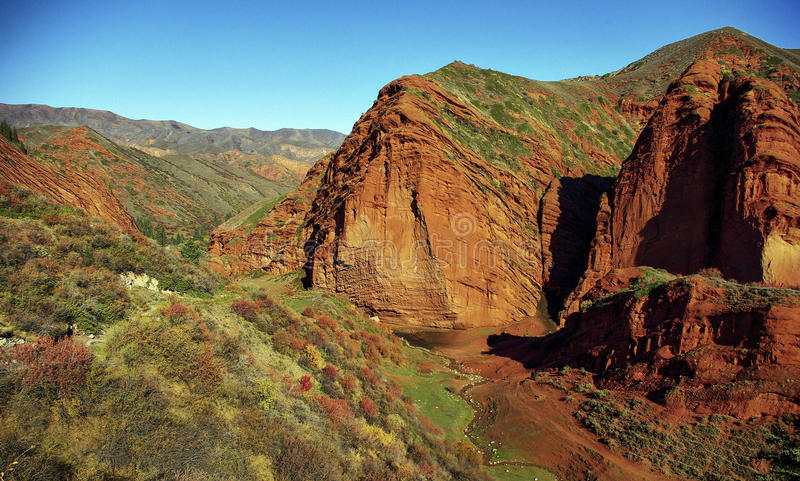 Red rocks Kyrgyzstan royalty free stock photography