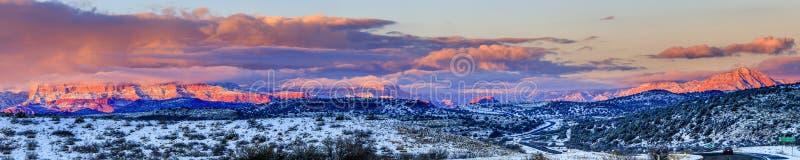 Red Rocks panorama at sunset royalty free stock image