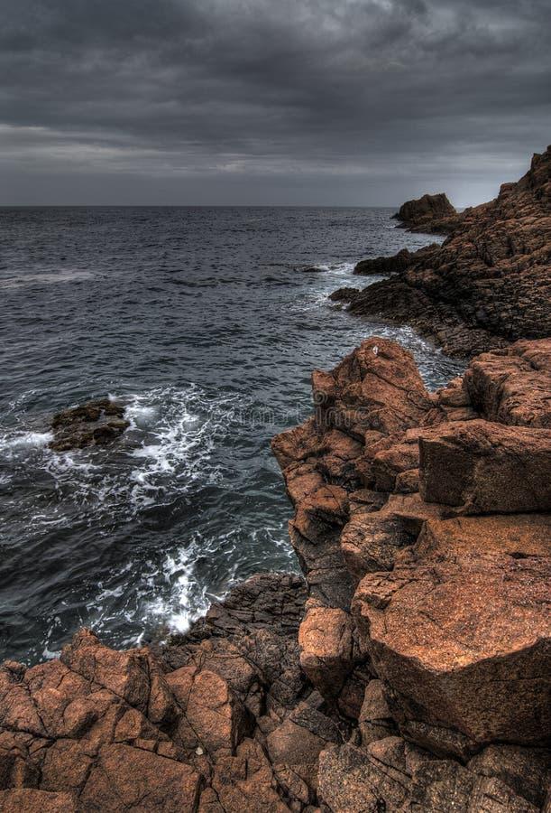 Red rocks of provence coast royalty free stock photos