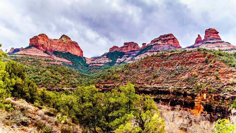 The red rocks of Schnebly Hill at the Oak Creek Canyon near the Midgely Bridge on Arizona SR89A. Just north of Sedona, Arizona, USA royalty free stock photography