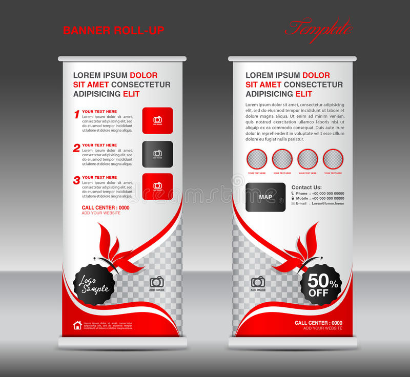 Red Roll Up Banner Stand Template Banner Design Cosmetics Ban - Roll up map of us