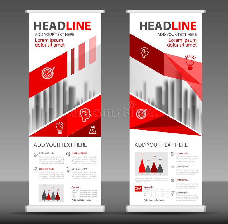 Red Roll up banner stand template design, flyer layout. Vector stock illustration