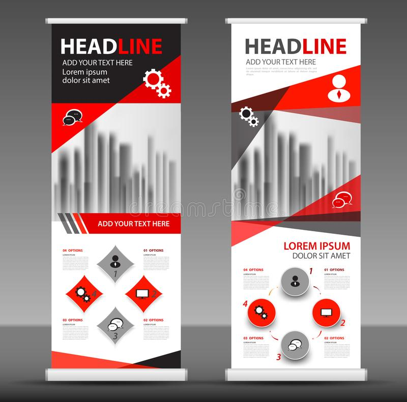 Red Roll up banner stand template design. Flyer layout vector stock illustration