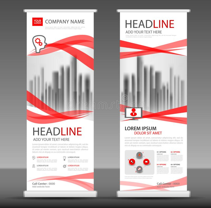 Red Roll up banner stand template design. Flyer layout vector vector illustration