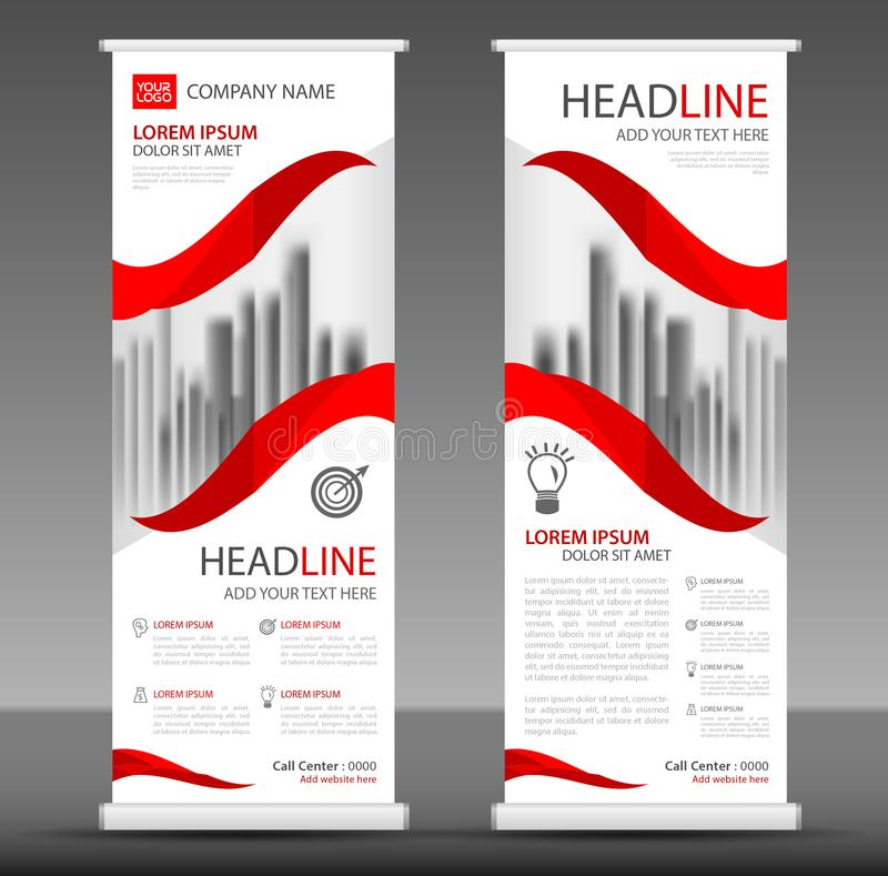Red Roll up banner stand template design, flyer layout. Vector vector illustration
