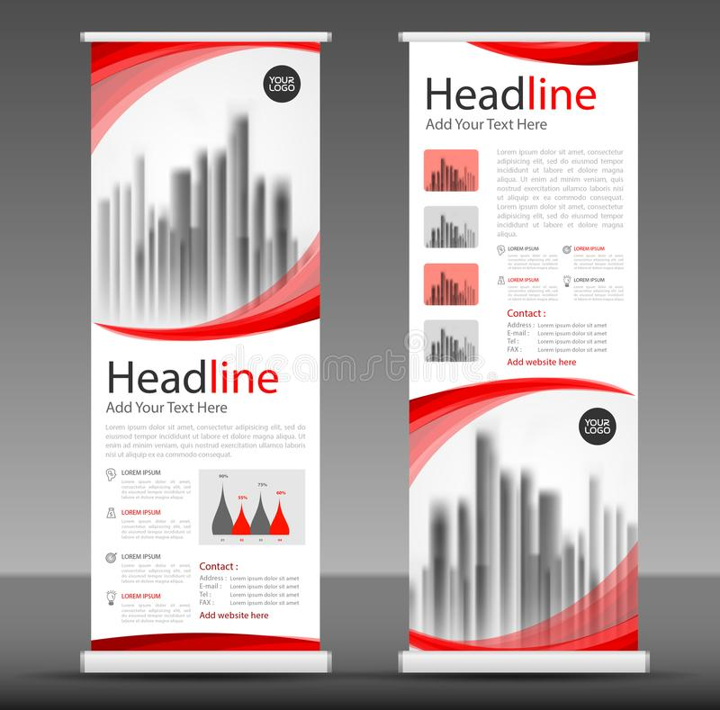 Red Roll up banner stand template design, flyer layout. Vector royalty free illustration