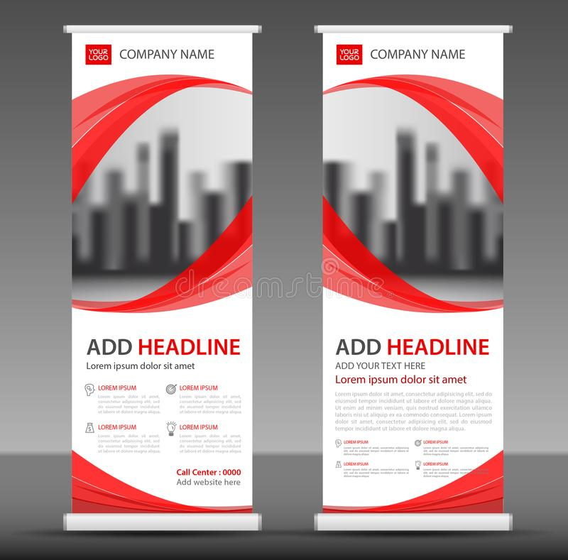 Red Roll up banner stand template design. Flyer layout vector royalty free illustration