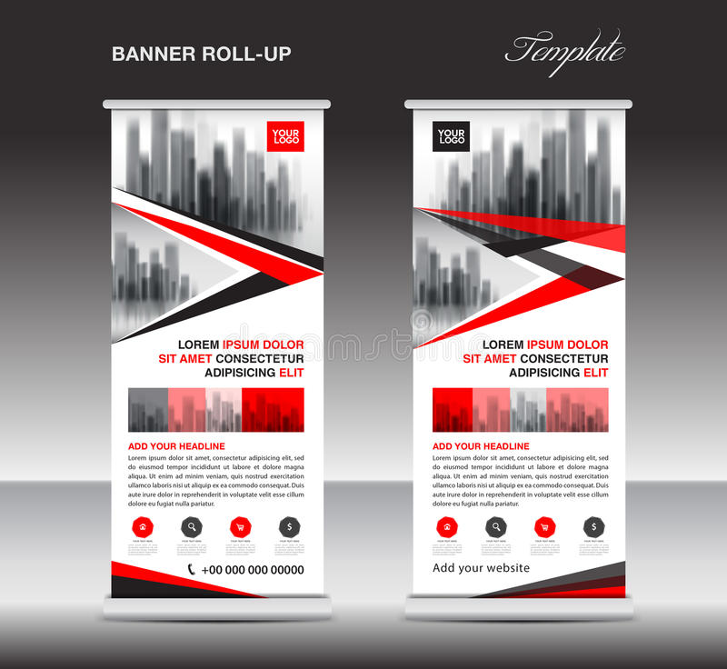 Red Roll up banner, stand template, poster, display, advertising. Red Roll up banner, stand template, poster, display, advertisement, banner design, polygon royalty free illustration