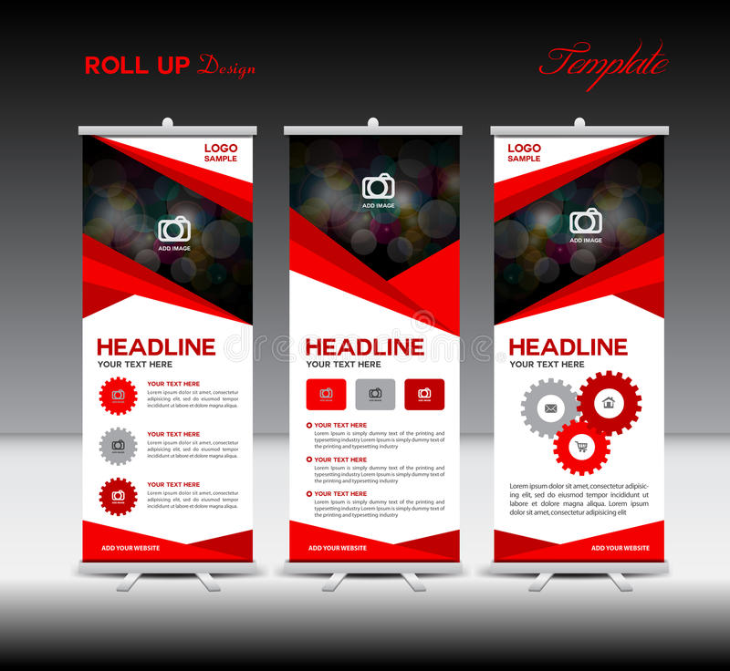 Exhibition Stand Design Template : Red roll up banner template and info graphics stand