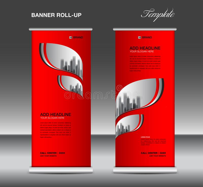 Red Roll up banner template vector, advertisement, x-banner, poster, pull up design, display, layout , business flyer, web banner royalty free illustration