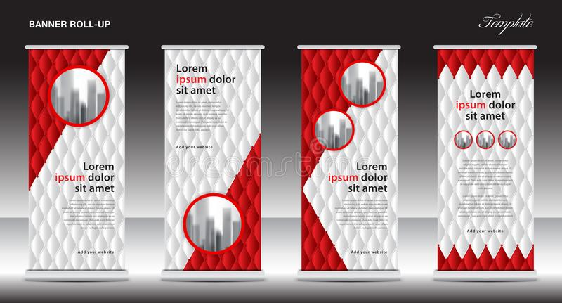 Red Roll Up Banner template vector illustration, polygon background, standy design, display, advertisement. X-banner, j-flag, pull up, business flyer layout stock illustration