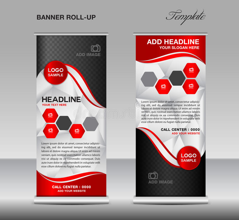Red Roll up banner template vector, roll up stand, banner design vector illustration