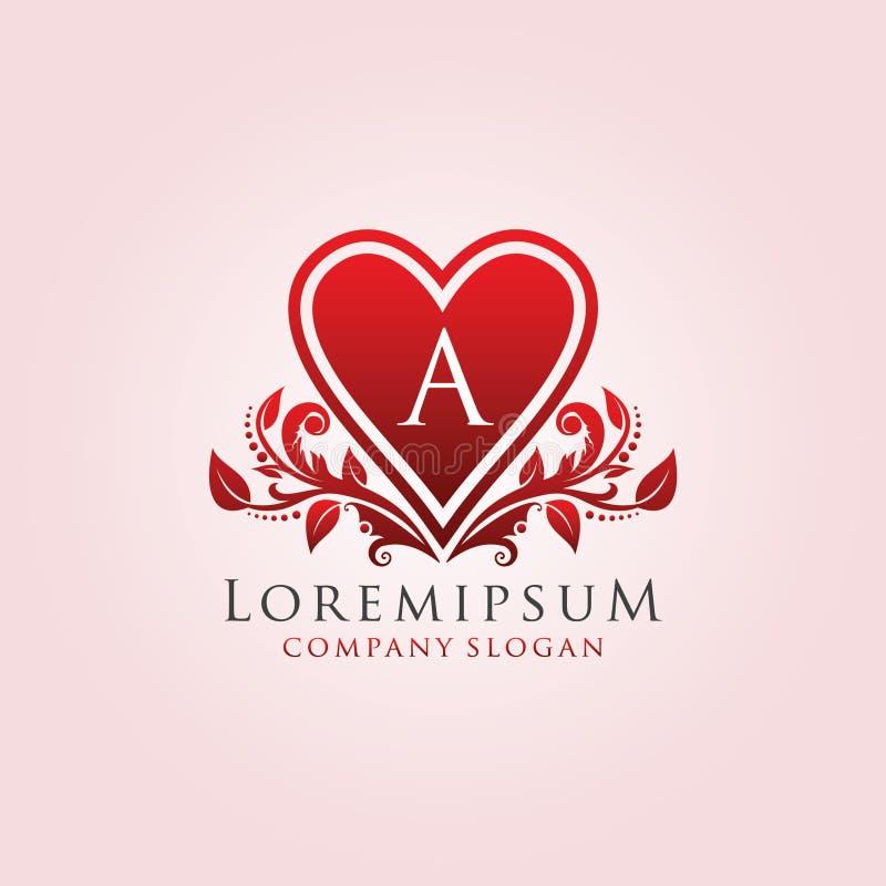 Red Romance Love A Letter Logo. vector illustration