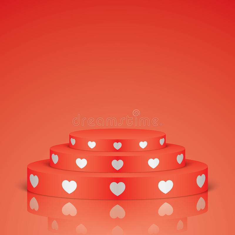 Red romantic scene with white hearts. Red vector stage with stairs and white hearts, isolated on background. Oval romantic scene for your valentines day design royalty free illustration
