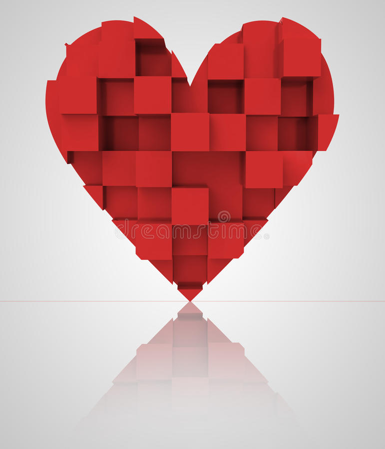Download Red Romantic Three Dimensional Cubic Heart Stock Illustration - Image: 29182995