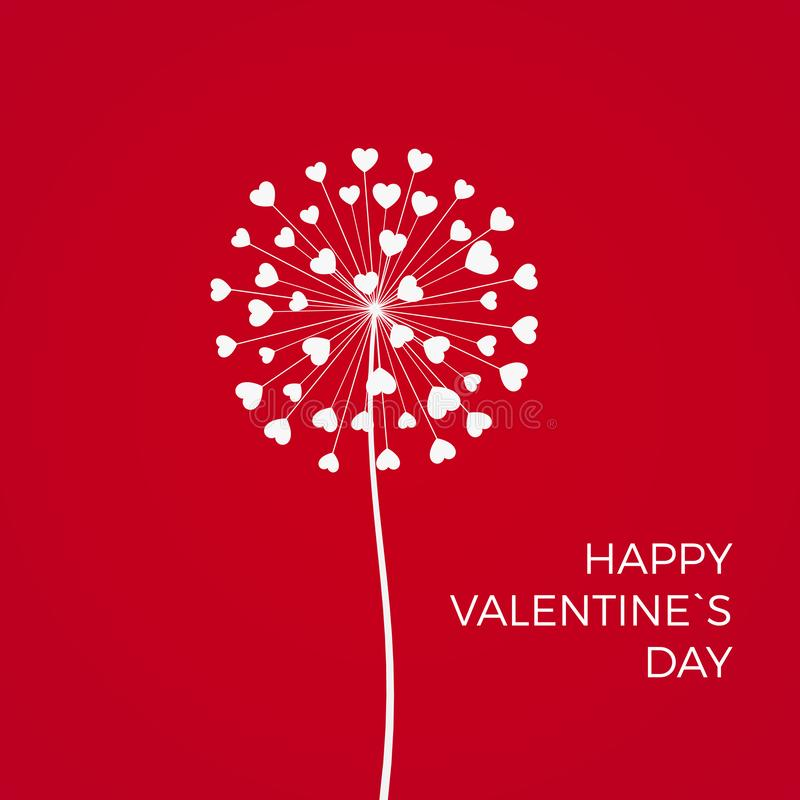 Red Romantic Valentine`s background. White Dandelions with hearts. February 14 holiday of love. Vector.  royalty free illustration