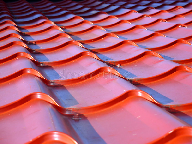 Red roof. Pattern - metal texture royalty free stock image
