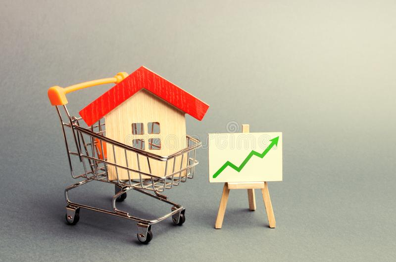 A red roof house in a trading cart and green arrow up on a stand. Increasing the cost and liquidity of real estate. Attractive. Investing. rising prices or royalty free stock photos