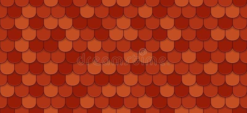 Red roof tiles. Seamless pattern - vector illustration stock illustration