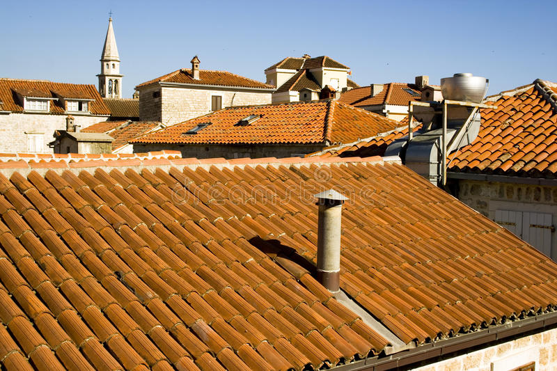Download Red roofs stock image. Image of pipework, budva, clouds - 22316853