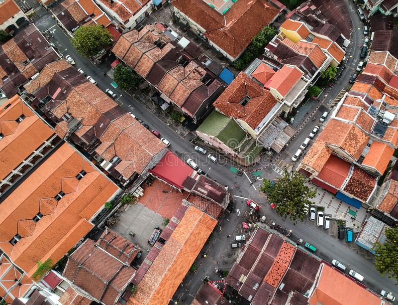 Top view of the red roofs , Georgetown, Penang, Malaysia royalty free stock image