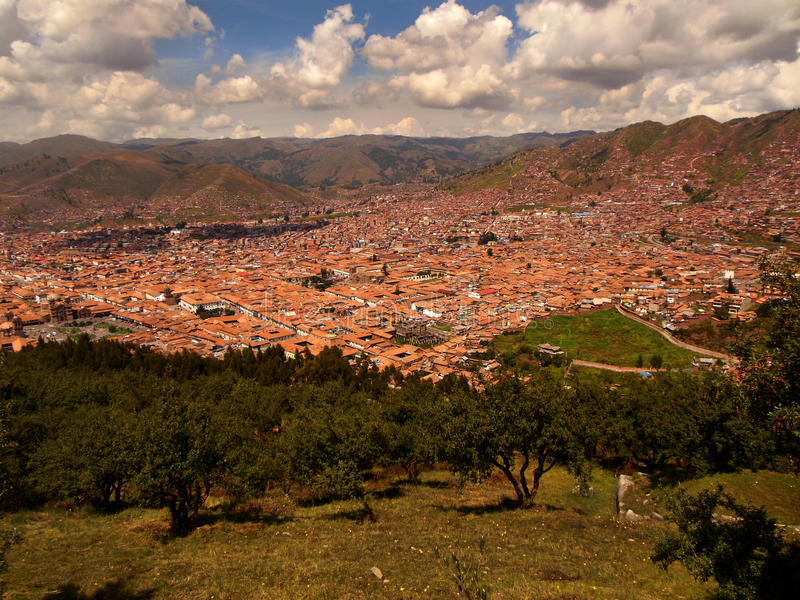 Red Roofs of Cusco. View of modern day Cusco taken from a hill overlooking the city stock image