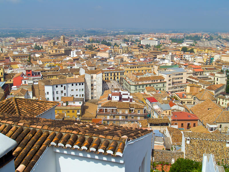 Red roofs of Granada stock image